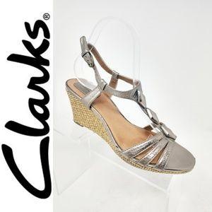 Clarks Metallic Champagne Gold Pewter Bronze Wedge